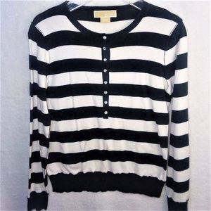 Michael Kors Black n White Striped Medium Sweater